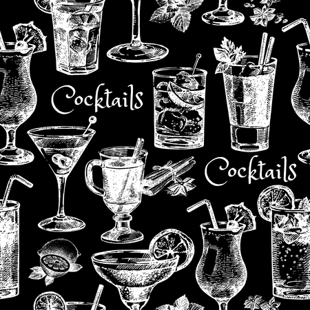 Hand drawn sketch cocktails seamless pattern mural