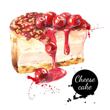 Illustration pour Watercolor sketch cherry cheesecake dessert. Vector isolated food illustration on white background - image libre de droit