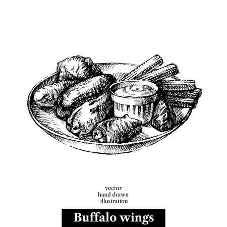 Illustration for Hand drawn sketch buffalo chicken wings. - Royalty Free Image