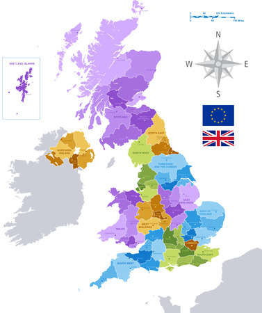 Illustration pour High Detail Colorful vector Map of United Kingdom Regions, Administrative divisions and major cities.  All elements are separated in editable layers clearly labeled as shown in the image. - image libre de droit