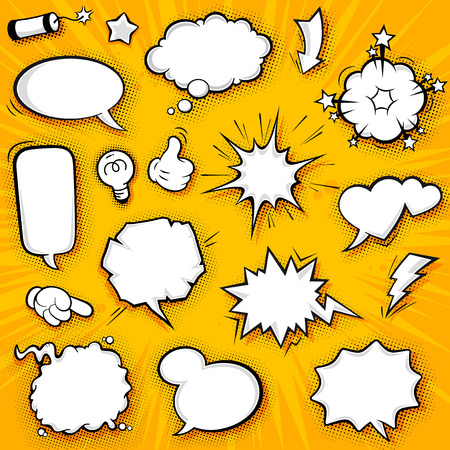 Illustration pour A collection of funny baloons for comic speeches and also sound effects. - image libre de droit