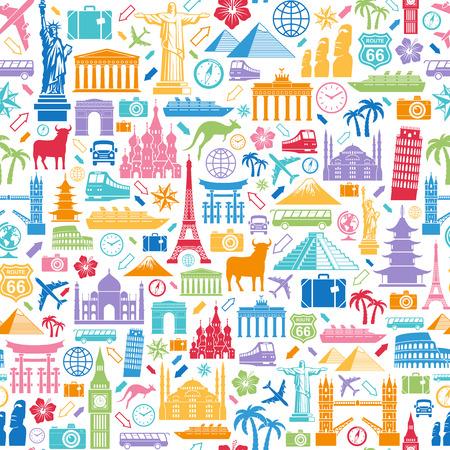Ilustración de Seamless texture composed of travel related and famous monuments icons - Imagen libre de derechos