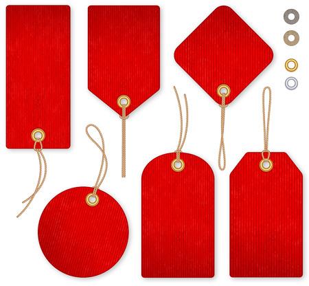 Ilustración de A set of high detail red grunge Vector Price Tags - Imagen libre de derechos