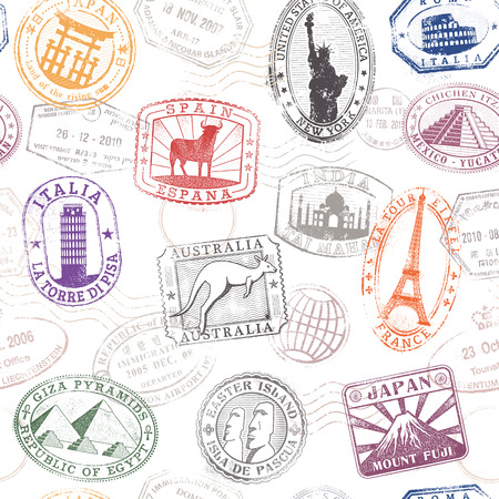 Illustration for Grunge hi quality vector seamless texture pattern with monuments ad famous landmarks from all over the world - Royalty Free Image