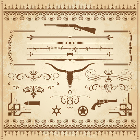 Illustration pour A collection of Wild West ornament, with frames, rulers, angle ornaments and cliparts. - image libre de droit