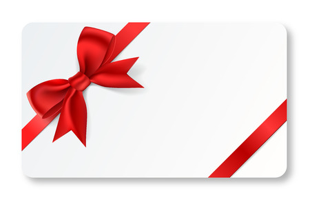 Illustration pour A full vector gift card with a red ribbon. - image libre de droit