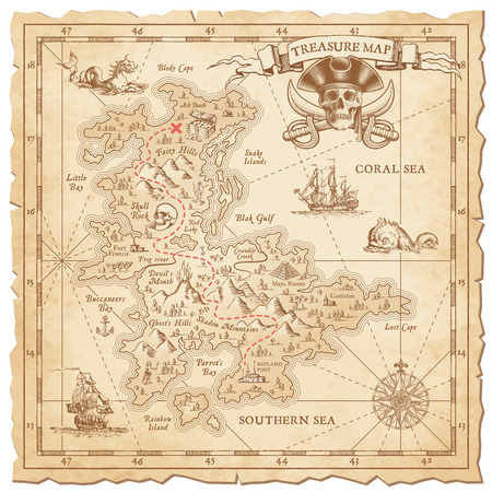 Illustration for A Hi detail, grunge Vector Treasure Map with lots of decoration hand drawn with incredible details. - Royalty Free Image