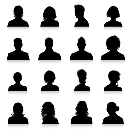 Ilustración de A collection of 16 high detail avatars silhouettes. - Imagen libre de derechos