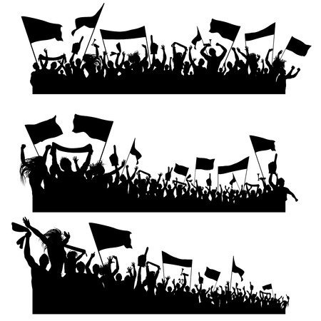 Illustration pour Three design elements composed of cheering sport supporters silhouettes - image libre de droit