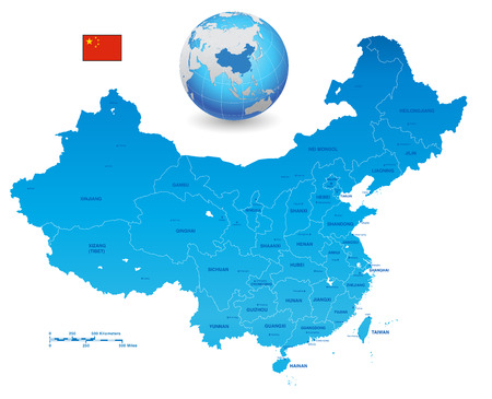 Illustration pour A High Detail vector Map of the People's Republic of China's colored with china flag. The set also contains a 3D Flag of China and a 3D Globe with China highlighted. All elements are separated in editable layers clearly labeled - image libre de droit