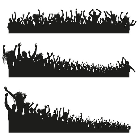 Illustrazione per Three high Quality compositions of a mixed group of male and female young people silhouettes posing as a cheering crowd for a concert or sport event. - Immagini Royalty Free