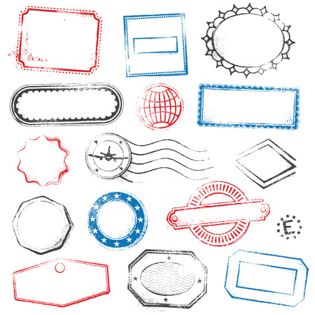 Illustration pour A high detail set of generic and empty stamps suitable for graphic designs for Travel, mail, promotional offers and more. - image libre de droit