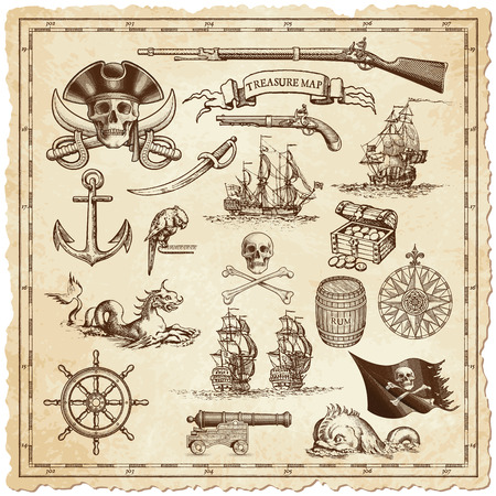 Illustration pour A collection of very high detail ornaments designed to illustrate vintage or treasure maps or othe designs related to vintage travels or pirates. - image libre de droit