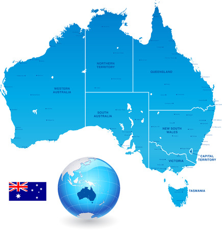 Illustration for High Detail vector Map of Australia, with states and major cities, a 3D Gloge of the earth centered on Australia and The Australia Flag. - Royalty Free Image