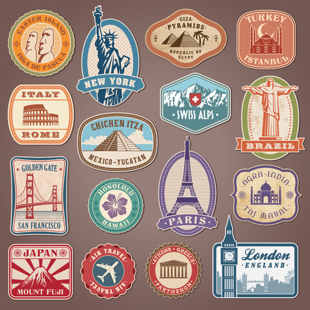 Illustration pour Collection of Vector labels with famous monuments and places - image libre de droit