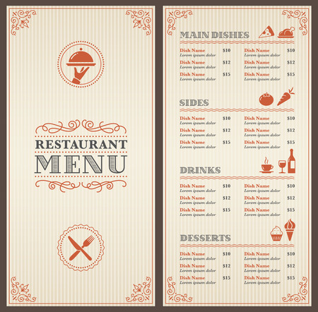Illustration pour A Classic Restaurant Menu Template with nice Icons in an Elegant Style - image libre de droit