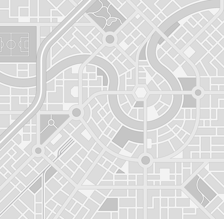 Illustration pour A generic city map pattern of an imaginary location in shades of grey - image libre de droit