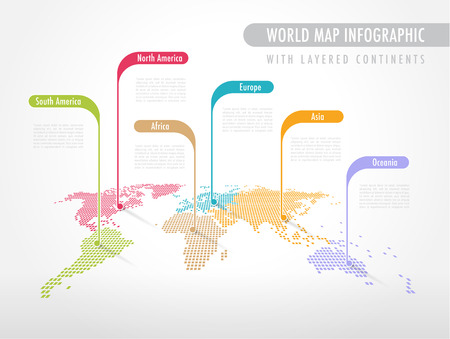 Illustration pour Perspective Pixelated World Map with Labels pointing each Continent - image libre de droit