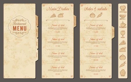 Illustration pour A Classic Restaurant Menu Template with nice food Icons in an Elegant Style on a vintage grunge background - image libre de droit