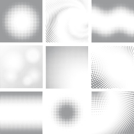 Illustration pour Collection of nine white and grey halftone shapes - image libre de droit