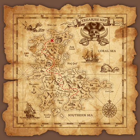 Illustration for Vector super detailed Pirate Treasure map on a ruined old Parchment. All elements are organized with layers. - Royalty Free Image