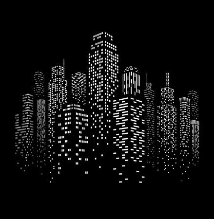 Ilustración de Vector illustration of black and white skyscrapers, with black buildings and white windows. All windows shapes are present so you can easily edit window colors. - Imagen libre de derechos