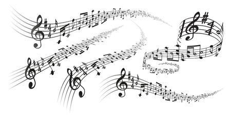 Illustration pour Five black vector musical score decorations with perspective deformation effects on white background - image libre de droit