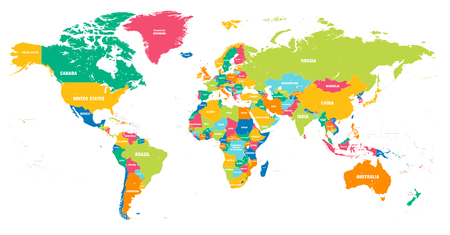 Photo for Colorful Hi detailed Vector world map complete with all countries names - Royalty Free Image