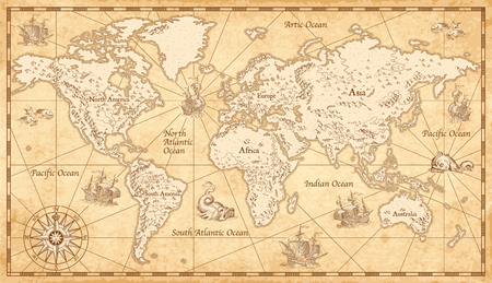 Illustration pour Great detail Illustration of the world map in vintage style on old parchment background. - image libre de droit