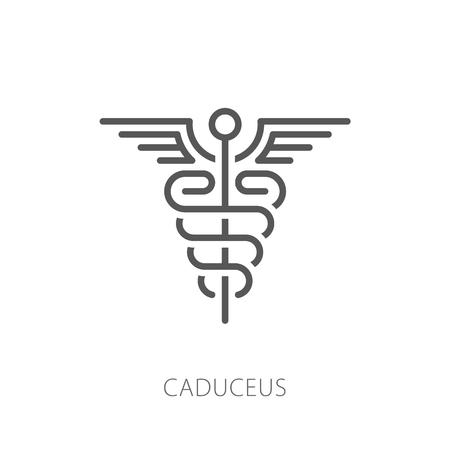 Illustrazione per Caduceus icon vector illustration. Thin line modern style - Immagini Royalty Free