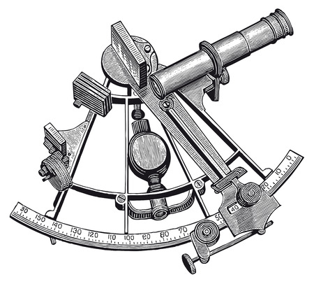 Illustration pour Full Vector illustration Illustration of a High Detail Sextant Engraving - image libre de droit