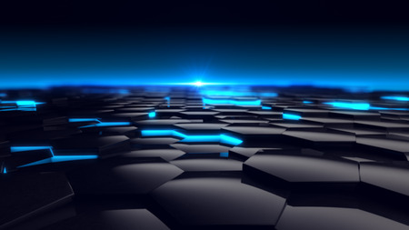 Photo for Hexagon Blue Glow Background Futuristic. 3D Render - Royalty Free Image