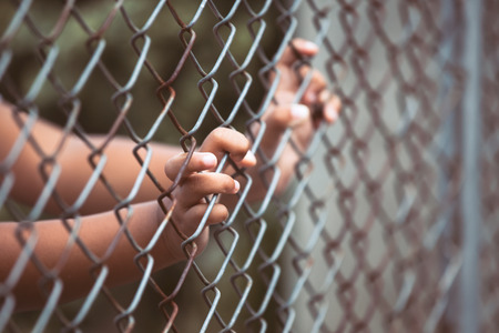 Photo for Child little girl hand holding steel mesh in vintage color tone - Royalty Free Image