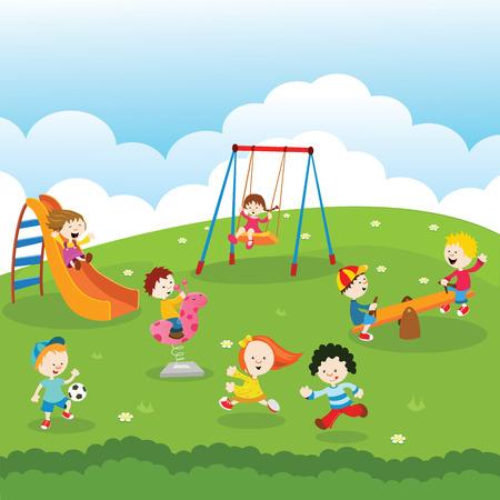 Illustration pour Kids at Park - image libre de droit