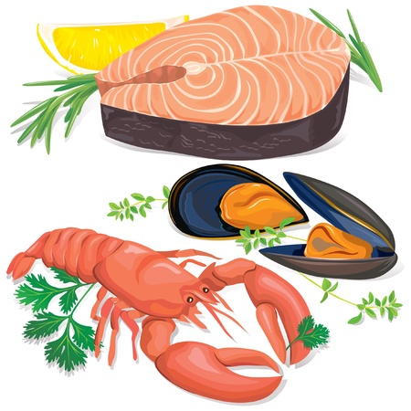Appetizing seafood set on white background