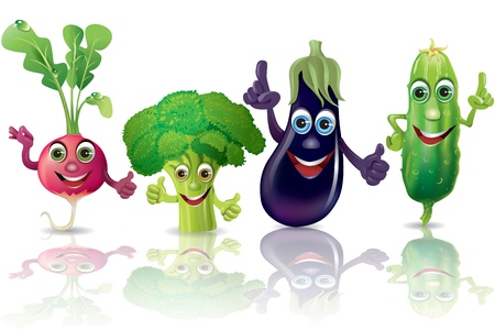 Funny vegetables, radishes, broccoli, eggplant, cucumber  Illustration contains transparent object