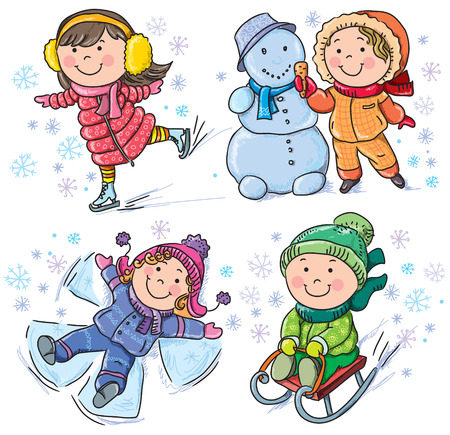 Winter kids. Contains transparent objects.