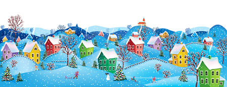 Illustration pour Winter rural landscape to a happy Christmas - image libre de droit