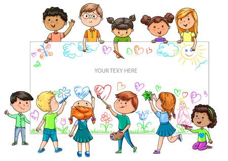 Illustration pour Funny cartoon children of different nationalities hold empty banner. - image libre de droit