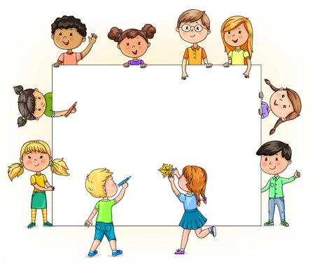 Ilustración de Bright funny children hold and paint blank banner with your pencils for your text. - Imagen libre de derechos