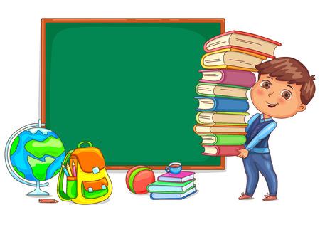 Illustrazione per Wood blackboard and cute child with books. - Immagini Royalty Free