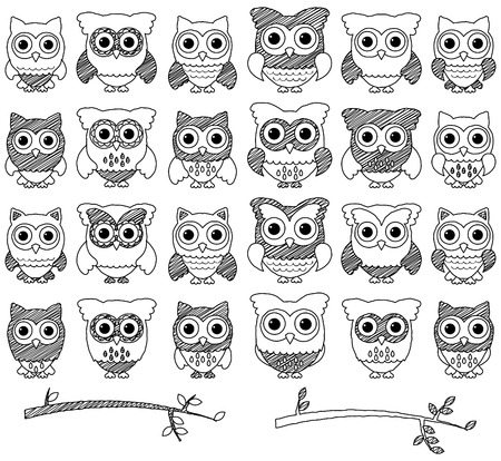 Doodle Style Set of Cute Owls and Branches