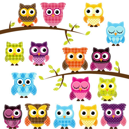 Set of Patchwork Or Quilt Style Owls and Branches