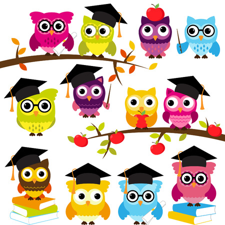 Collection of School or Graduation Themed Owls