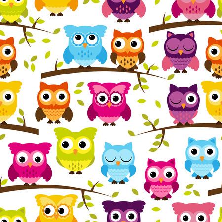 Illustration pour Seamless and Tileable Owl Background Pattern - image libre de droit