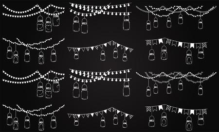 Photo pour Vector Collection of Chalkboard Style Mason Jar Lights  - image libre de droit