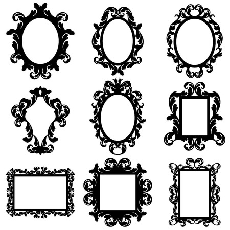 Illustration pour Vector Set of Baroque Frame Silhouettes - image libre de droit