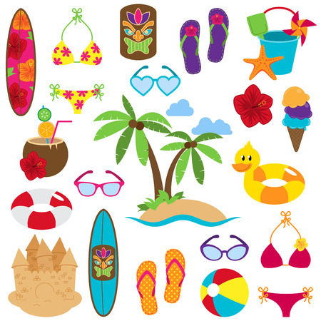 Illustration pour Vector Collection of Beach and Tropical Themed Images - image libre de droit