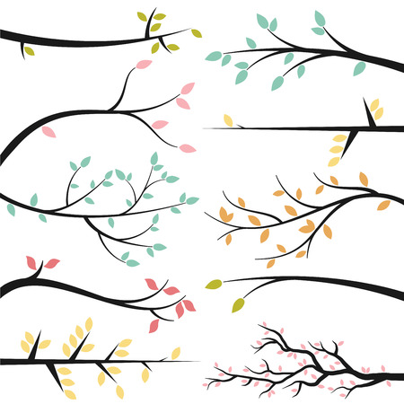 Illustration pour Vector Collection of Tree Branch Silhouettes - image libre de droit