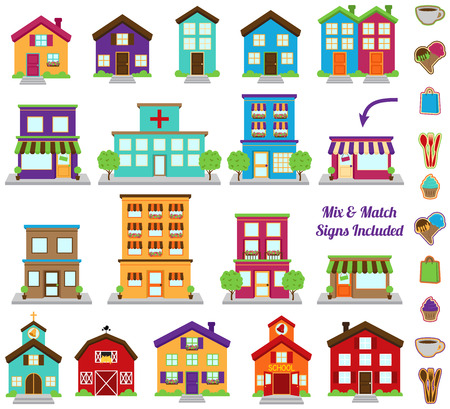 Illustration pour Vector Collection of City and Town Buildings, including various signs - image libre de droit